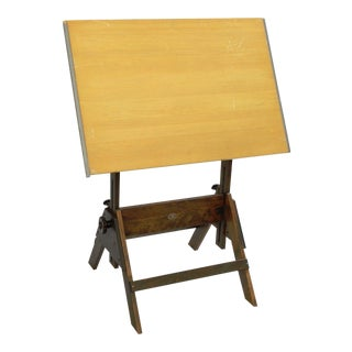 Vintage Anco-Bilt Wooden Adjustable Drafting Table Architect Artist Work Wood Desk
