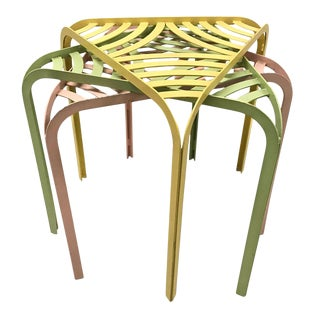 1960s Colorful Metal Stacking Tables