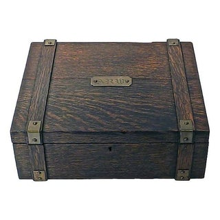 Antique Wooden Monogrammed Box For Sale