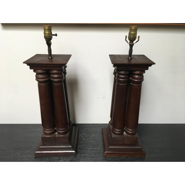American Classical Early 20th Century Antique Wooden Architectural Table Lamps - a Pair For Sale - Image 3 of 9