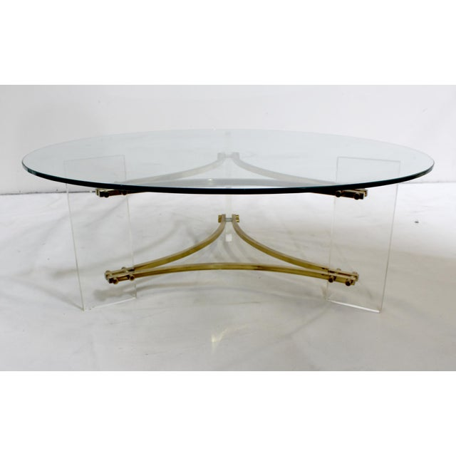 Mid-Century Modern Charles Hollis Jones Mid-Century Brushed Brass & Acrylic Coffee Table For Sale - Image 3 of 9