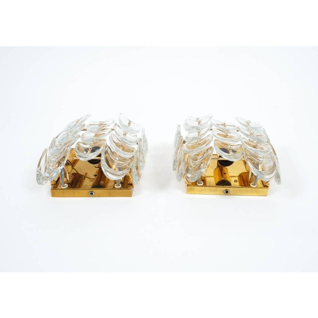 1960s Pair of Gilded Brass and Glass Sconces by Palwa For Sale - Image 5 of 6