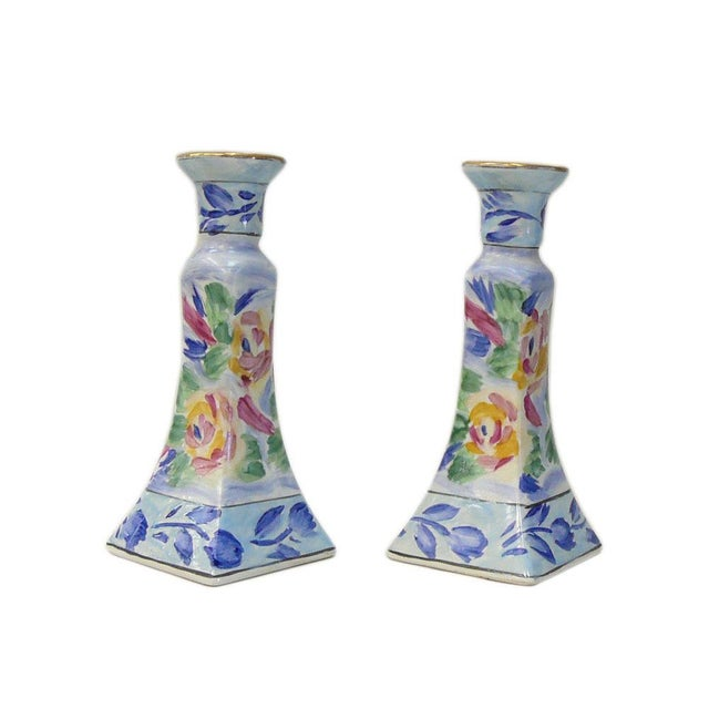 Chinese Porcelain Color MIX Graphic Candle Holders - a Pair For Sale - Image 4 of 6