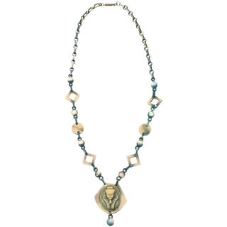 Egyptian Revival Celluloid Necklace For Sale