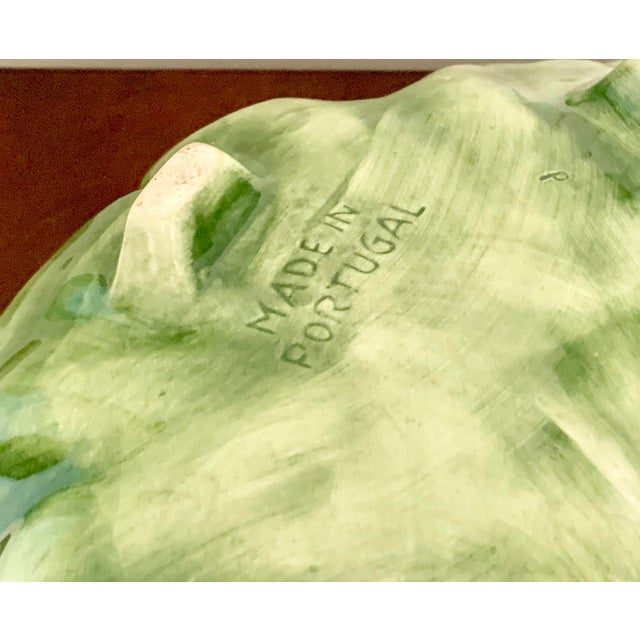 Vintage Green Ceramic Cabbage Leaf Bowl, Candy Dish For Sale - Image 4 of 5