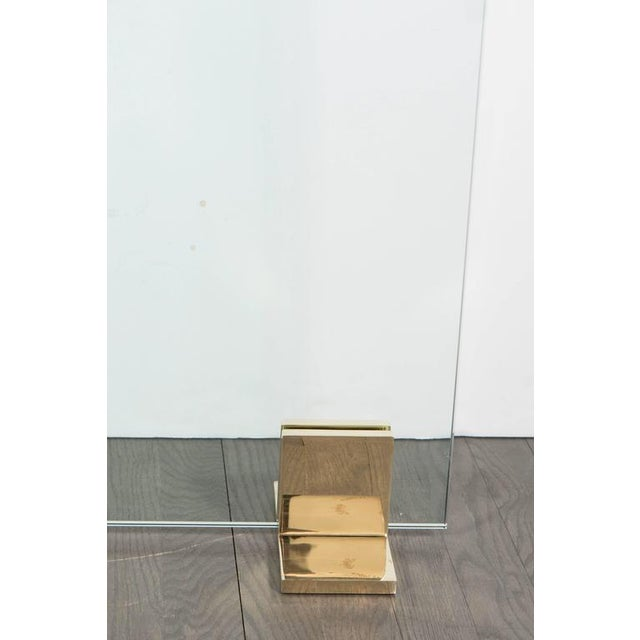 Contemporary Custom Modern Fire Screen in Polished Brass and Tempered Glass For Sale - Image 3 of 10