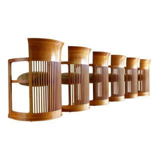 Vintage 1986 Frank Lloyd Wright for Cassina Taliesin 606 Barrel Chairs - Set of 6 For Sale