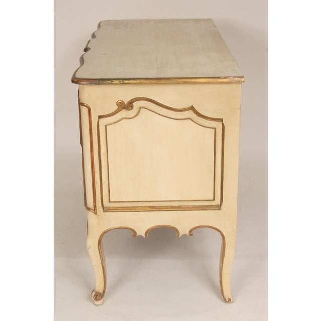 French Louis XV Style Painted and Partial Gilt Chest of Drawers For Sale - Image 3 of 13