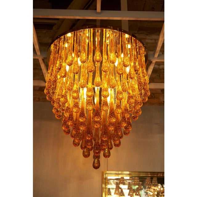 Monumental Brass and Murano Glass Tear Drop Flush Mount Attr. To Barovier & Toso For Sale - Image 12 of 13