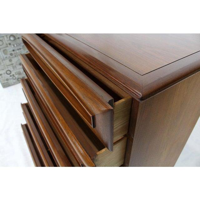 Sculptural Thick Carved Solid Walnut Panels Design 5-Drawer High Chest Dresser For Sale - Image 12 of 13