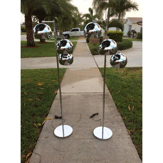 Koch & Lowy Chrome Ball Floor Lamps - A Pair For Sale - Image 9 of 11