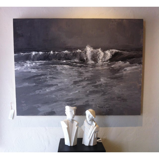Karin Swildens White Deco Man and Woman Cast Sculptures For Sale - Image 12 of 13