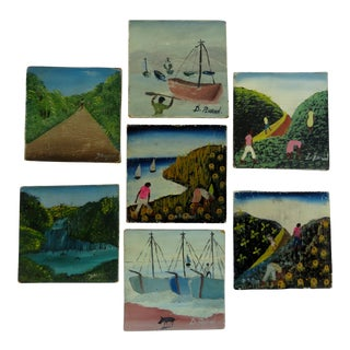 Hand-Painted Coasters, - Set of 7 For Sale