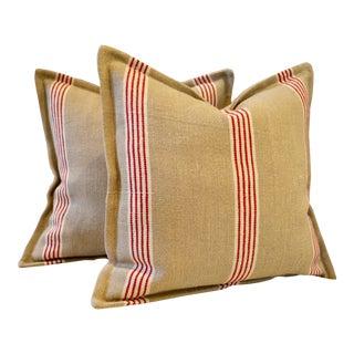 Ralph Lauren Basque Ticking Pillows - A Pair For Sale