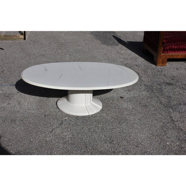 Art Deco French Modern White Resin Oval Coffee Table For Sale - Image 3 of 13