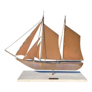1960s Copper and Brass Ship Model by A.David For Sale