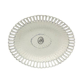 18th-C Monogrammed Creamware Oval Plate - C.1780 For Sale