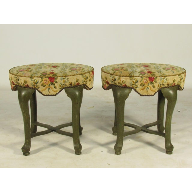 Green Yale Burge French Painted Stools - a Pair For Sale - Image 8 of 8