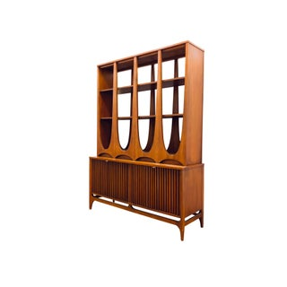 Mid Century Modern Broyhill Brasilia Two Piece Display Case Hutch Credenza Sideboard Room Divider Freestanding Wall Unit Danish Style Preview