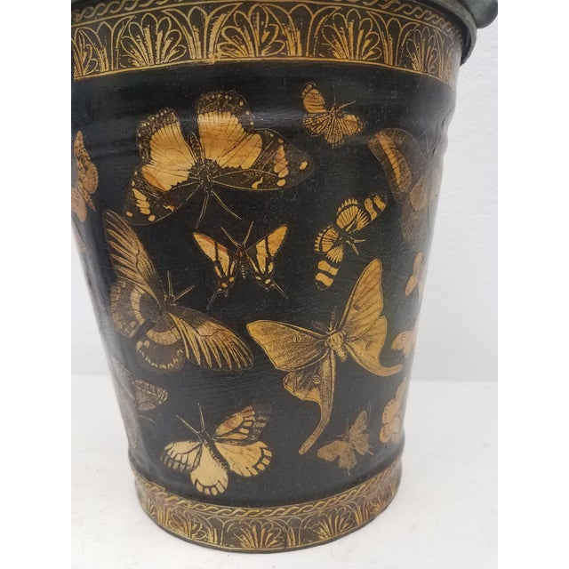 English Antique Bucket / Pail With Decoupage Butterflies - Found in Southern England The bucket/pail is an antique that...