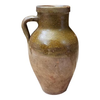 Mid 19th Century Primitive Southern Redware Drip Glazed Pitcher For Sale