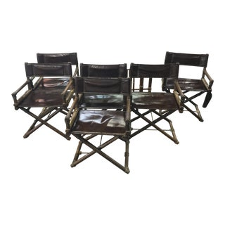 McGuire Mid-Century Modern Bamboo & Laced Director X Chairs - Set of 6 For Sale