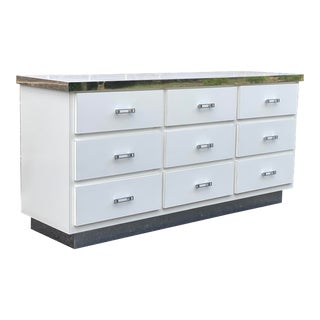 Vintage White Laminate & Chrome Triple Dresser For Sale