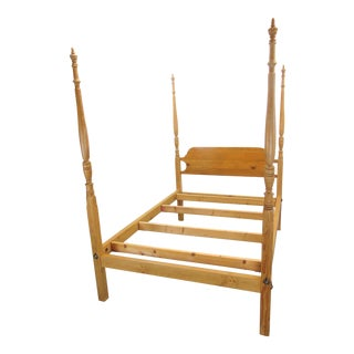 English Georgian Style Scrub Pine Tall Post Queen Size Bed For Sale