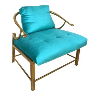 "Brass Asian Inspired Mastercraft Faux Bamboo ""Ming"" Chair For Sale"