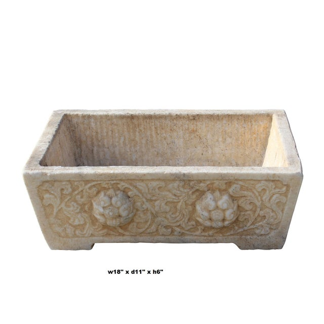 Chinese Off White Gray Marble Stone Carved Rectangular Pot Planter For Sale In San Francisco - Image 6 of 7
