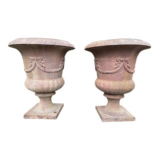 Antique Early 20th Century French Cast Iron Urns - a Pair For Sale
