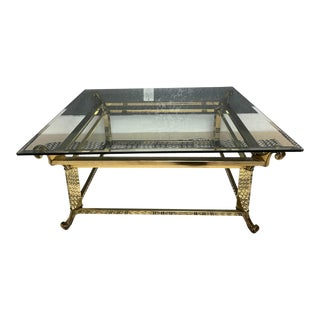 1960's French Gold Coffee Table & Glass For Sale