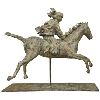 Turaeg Riding Horse Sculpture on Metal Stand by Lara For Sale