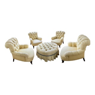 Modern Custom Nobilis Upholstered Armchairs & Ottoman- 5 Pieces For Sale