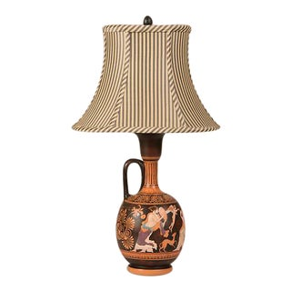 19th Century Greek Hand Painted Earthenware Amphora Lamp For Sale