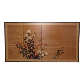 Mid Century Japanese Byobu Silk Folding Screen For Sale