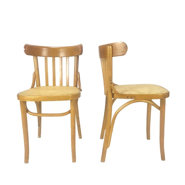 Boho Chic Vintage Romanian Maple Bentwood & Cane Side Chairs - A Pair For Sale - Image 3 of 8