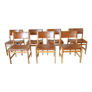 1960s Kurt Ostervig Oak and Leather Dining Chairs - Set of 7 For Sale