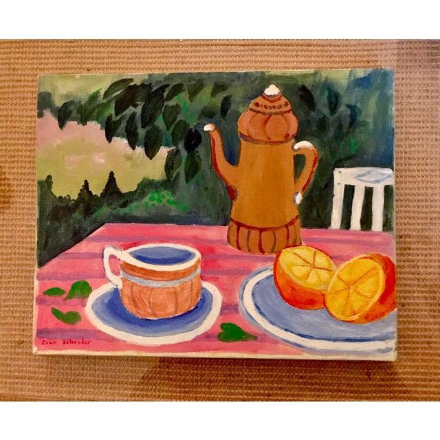 "Mid-Century Still Life ""Tea and Oranges in the Garden"" by Joan Schreder - Image 2 of 4"