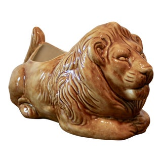 Large Glazed Pottery Lion Planter