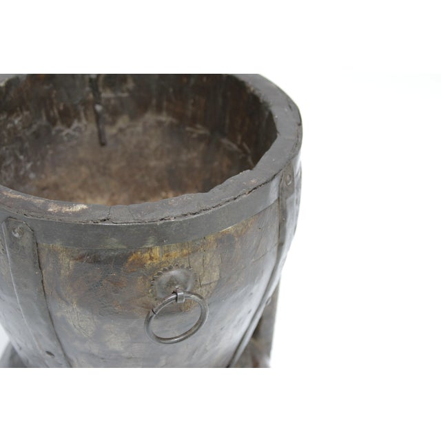 Asian Ironbound Rice Mortar For Sale - Image 3 of 4