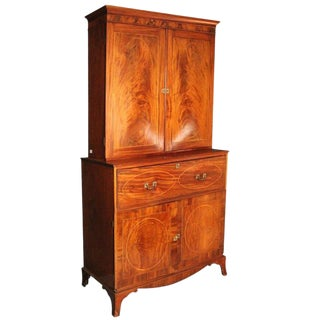 American Federal Inlaid Mahogany Bookcase Secretary, 19th Century For Sale