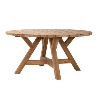 Round Salvaged Teak Dining Table For Sale