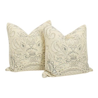 Cream and Slate Linen Royale Vase Pillows, a Pair For Sale