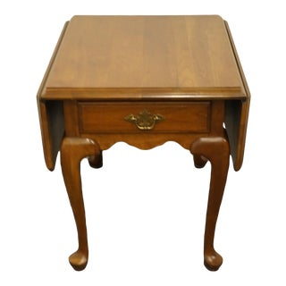 Ethan Allen Georgian Court Solid Cherry Drop Leaf Accent End Table 11-8044 - Sheffield Finish For Sale