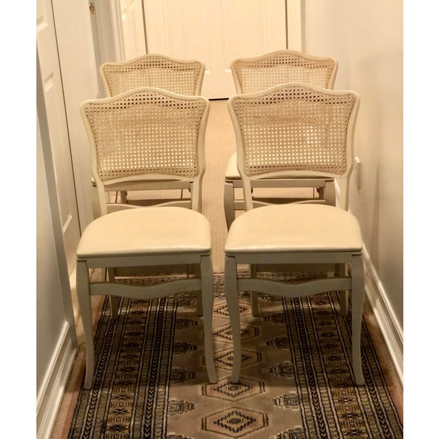 Mid-Century Modern Caned Backed Neutral Colored Stackmore Folding Chairs - Set of 4 For Sale - Image 3 of 12