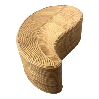 Postmodern Cane Leaf-Shaped Coffee/Accent Table For Sale