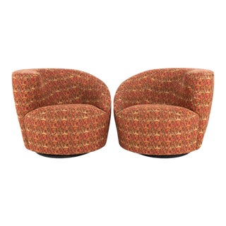 Mid Century Vladimir Kagan Nautilus Swivel Barrel Lounge Chairs - A Pair For Sale