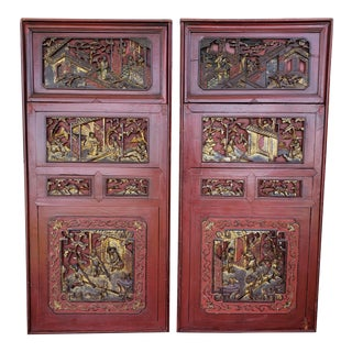 Late 19th Century Chinese Carved Gilded Lacquered Wood Imperial Court Motif Panels - a Pair For Sale