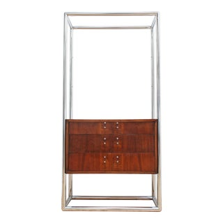 Vintage 70s Chrome and Walnut Etagere Cabinet- Milo Baughman Style For Sale